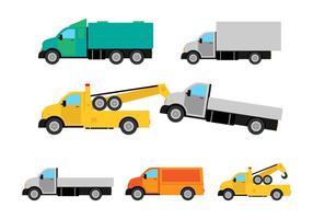 Camion plana Camión Vector Set