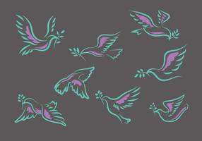 Flying Dove or Paloma Hand Drawn Set Vector Illustration