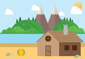 Mountain Beach Cabin Landscape Vector