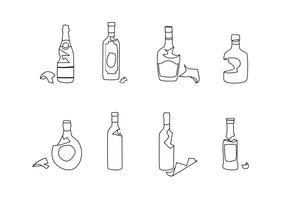 Gebroken fles Outline Gratis Vector