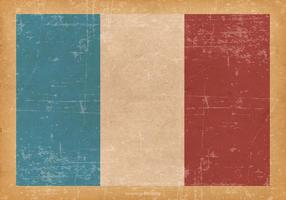 Drapeau de la France sur Old Grunge Background