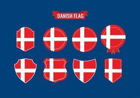Bandera danesa del icono del vector gratuito