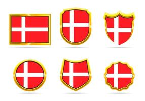 Golden Frame Denmark Flag Badge Vectors