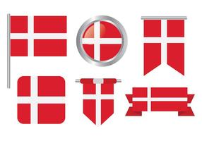 Drapeau danois Icônes vecteur libre