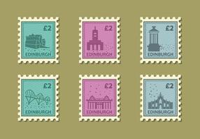 Edinburg Building Vintage Stamp Vector Illustration