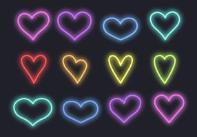 Neon Hearts Vector