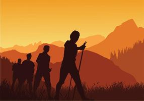 Nordic Walking Sunset Silhouette Free Vector