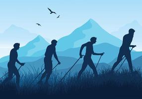 vettore della siluetta blu di nordic walking