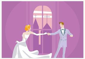 Vettore di dancing delle coppie di nozze