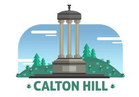 Calton Hill The Landmark of Edinburgh Vector Illustration