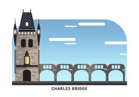 Praga Landmark O Charles Bridge Ilustração vetor