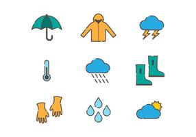 Tempo e Monsoon Vector Icons