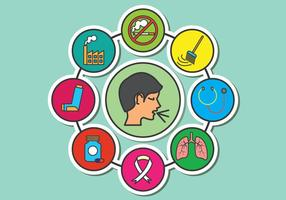 Medical Asthma-Vektor-Icons