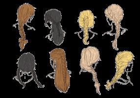 Tranças de cabelo e tranças Vectors