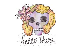 Cute Purple Sugar Skull Wearing Flower And Happy Quote