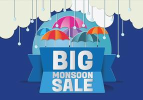 Monsoon Season Raining Drops with Umbrella Vector