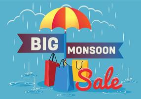 Sale Poster for Monsoon Season with Rain Drops with Shopping bag and Umbrella