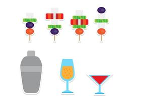 Flat Canapes and Drinks Icon Set