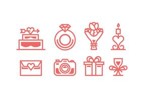 Coral Colored Wedding Vector Icons