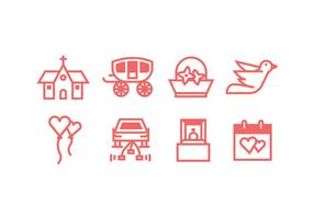 Classic Wedding Icons Set vector