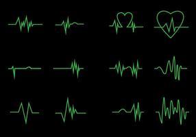 Neon Heart Pulse Icon Vectors