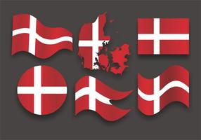 Danish Flag Vector Set