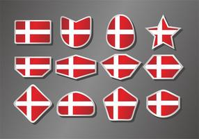 Dänische Flagge Vector Set