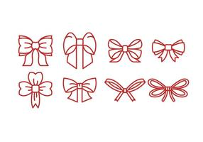 Red Outline Ribbon Ikon Vector