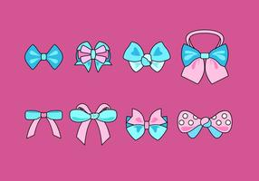 Blue And Pink Hair Ribbon Free Vector
