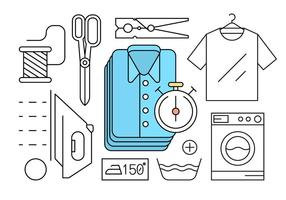 Free Linear Style Laundry Icons vector