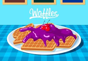 Waffles With Blueberry Jam Free Vector