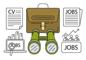 Linear Job Hunting Icons vector