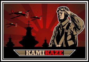 Kamikaze dem Zweiten Weltkrieg Bomber Vektor