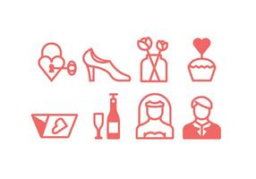 Linear Wedding Ceremony Icons