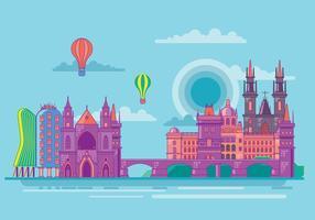 Sitios de interés famosos de Praga Torres y Puente vectorial