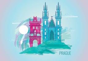 Beautiful Painting of Prague  vector