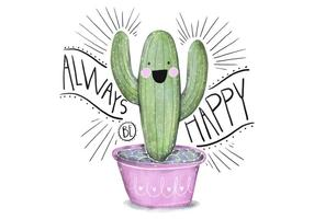 Cute Pink and Green Succulent Illustration Character Watercolor With Quote
