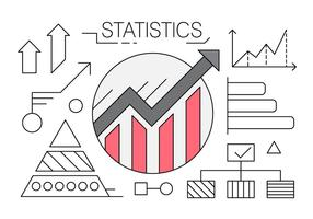 Linear Icons with Charts and Statistics vector