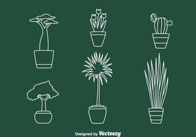 Casa Planta de vaso vetores de linha