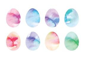 Vector Coloful Watercolor Easter Eggs