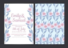 Vector Wedding Invitation with Hand Drawn Flowers