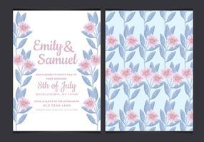 Convite do casamento do vetor com as flores desenhadas mão