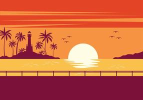 Playa Sunset Free Vector