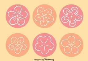 Dibujados a mano de vectores flor del melocotón