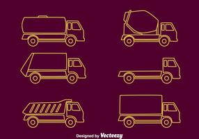 Trucks Line Collection Vector