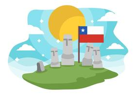 Chile Landmark Easter Island Background Vector