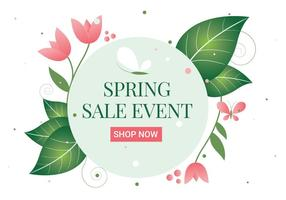 Free Spring Flower Wreath Background vector
