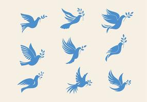 Set of Dove o Paloma The Peace of Symbol Illustrazione minimalista