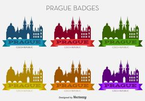 Vector Prague City Colorful Badges