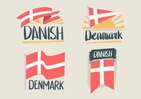Dibujados a mano de vectores de la bandera de Dinamarca